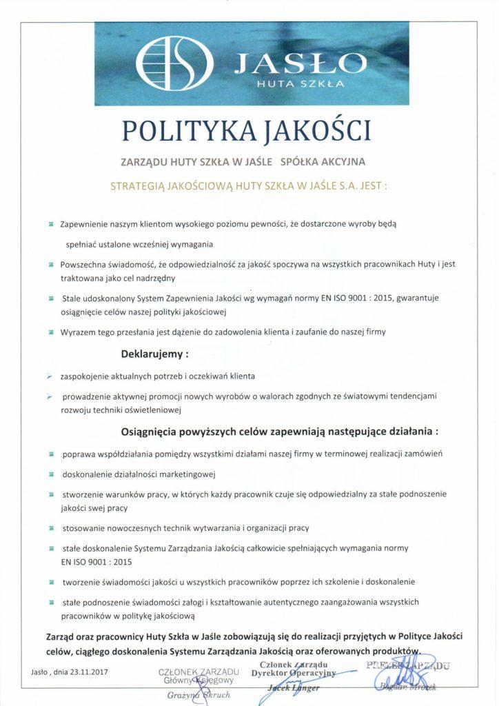 Polityka Jakości Huta Szkła w Jaśle