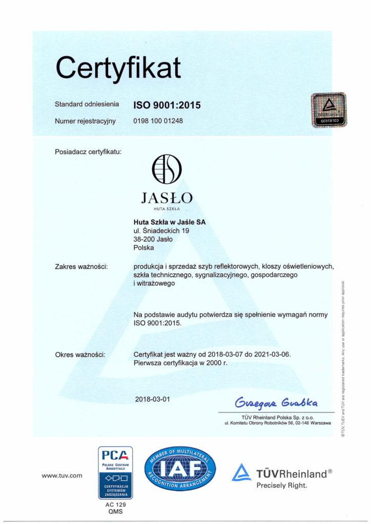 Certyfikat Jasło Glass